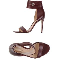 Gianvito Rossi Sandals ($514) ❤ liked on Polyvore featuring shoes, sandals, maroon, round cap, stiletto sandals, buckle sandals, high heels stilettos and stiletto heel shoes