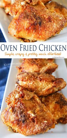 Simplify your dinner with this Oven Fried Chicken that comes out crispy & delicious in about an hour. Less mess & clean up, the best baked chicken recipe. Plus a quick tip on how to keep breading the chicken mess free! on kleinworth Best Baked Chicken Recipe, Fried Chicken Recipes, Meat Recipes, Cooking Recipes, Zoodle Recipes, Game Recipes, Simple Fried Chicken Recipe, Best Food Recipes, Best Chicken Thigh Recipe
