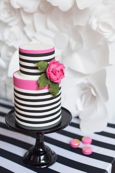 Striped cake - Kate Spade inspired black, white, with a pop of hot pink party 40th Birthday Cake For Women, 40th Birthday Cakes, 40th Birthday Parties, Pretty Cakes, Beautiful Cakes, Amazing Cakes, Kate Spade Cake, Striped Cake, White Cakes