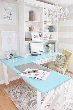 love the colored desk!
