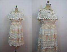 vintage 1970s cream and white lace cotton dress / boho mexican dress / 70s off the shoulder dress / sz L large XL XXL