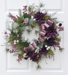 Decorative Pine Berry Dahlia Wreath Christimas by tlgsilkfloral, $79.95