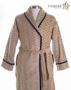 ee77fc35af  135 - This women s mocha tan beige bathrobe with navy blue braid is the  perfect gift