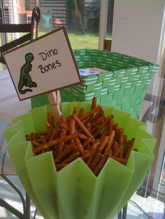 Dino Bones: Cute idea for a dinosaur or prehistoric birthday party; you could dip the pretzels in white candy coating to make them more realistic