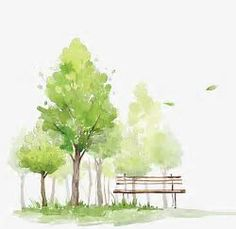 Watercolor Trees, Watercolor Clipart, Green, Hand Painted PNG Transparent Clipart Image and PSD File Watercolor Scenery, Watercolor Images, Easy Watercolor, Watercolor Landscape, Watercolor Flowers, Landscape Paintings, Watercolor Paintings, Watercolors, Tree Paintings
