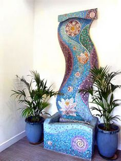 I want to mosaic things for my yard--water fountain, fence wall, can you do a chiminea? Mosaic Garden Art, Mosaic Flower Pots, Mosaic Pots, Mosaic Glass, Glass Art, Pebble Mosaic, Stained Glass, Mosaic Crafts, Mosaic Projects