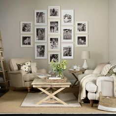 Find this Pin and more on Oturma Odas Salon Dekorasyon Fikirleri Neutral living room with photo display