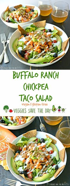 Buffalo Ranch Chickpea Taco Salad combines tangy and spicy flavors with crunchy chips and hearty chickpeas for a satisfying meal.