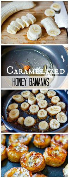 1 slightly under-ripened banana, sliced 1 T honey Cinnamon Olive oil drizzle oil in skillet over med heat Arrange banana slices in pan cook min on each side Meanwhile whisk together honey & 1 T water Remove pan from heat Banana Recipes, Fruit Recipes, Sweet Recipes, Dessert Recipes, Cooking Recipes, Banana Snacks, Kid Cooking, Healthy Desserts, Delicious Desserts
