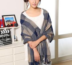 Cashmere Scarf Blanket Plaid Blue 2