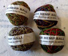 100% Hand Made Hemp, Fair Trade, Natural Dyes, 100g, Variegated $9.95