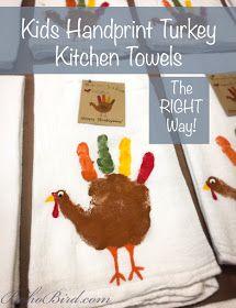 Handprint Turkey Kitchen Towel Tutorial