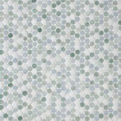 """Studs Blue Blend Polished 12"""" x 12-1/3"""" x 3/8"""" Description: This unique smaller sized mosaic is made up of Thassos, Azul Cielo and Ming Green."""