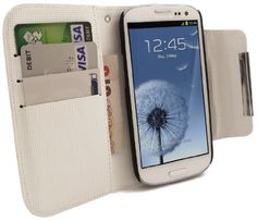 FoneM8\u00ae \u2013 Samsung Galaxy S3 White Leather Wallet Flip Case Cover \u2013 INCLUDES 5 Screen Protectors