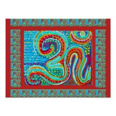 MANTRA:  Om 108 times Holy Red Background Poster - anniversary gifts diy cyo party