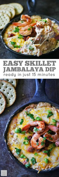 Skillet Jambalaya Dip | by Life Tastes Good is a twist on the classic Louisiana Creole Dish. Using many traditional ingredients, this recipe tastes just like Jambalaya, but is quicker and easier to make. It's also perfect for Mardi Gras parties! #LTGrecipes #SundaySupper @Zatarains