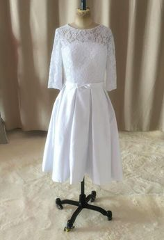 2016 White Ivory New Custom Matched Bow Sash Knee Length A-Line 3/4 Sleeve Lace Short Vintage Wedding Dresses Bridal Gowns W2006