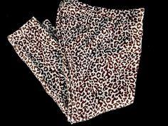 J CREW CAFE CAPRI 100% Linen  Animal Print Leopard Cropped PANTS Waist 30 #JCrew #CaprisCropped