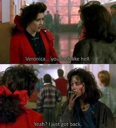 Heathers loved this movie! Winona Ryder and Christian Slater were two of my favorite actors. I liked Shannen Doherty too just not in this movie. 90s Movies, Good Movies, Movie Tv, Girly Movies, Shannen Doherty, One Liner, Film Quotes, Old Movie Quotes, 80s Quotes