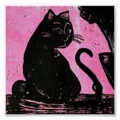 Cat Print Poster; Abigail Davidson Art; Frame option available at Zazzle