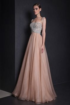 Tony Ward Ready to Wear Summer 2015 Peach Empire Gazar evening gown with fully embroidered bust and sheer neckline.