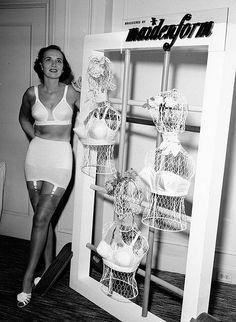 publicity shot for lingerie brand and bullet bra designer 'Maiden form' 1950's Sweater Girls and Bullet Bras #bulletbra #secretsinlace