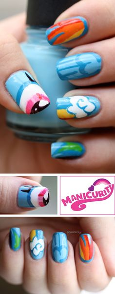 Manicurity: Rainbow Honey My Little Pony Nail Art Competition: Rainbow Dash!