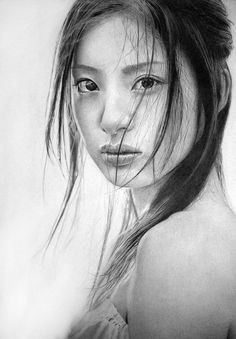 Photograph--Impressive pencil drawings by the UK based graphite artist Ken Lee or also known as KLSADAKO in dA. Ken specializes in drawing beautiful Asian women portraits with rich details in the use of shadows and light. Realistic Pencil Drawings, Amazing Drawings, Amazing Art, Charcoal Drawings, Beautiful Drawings, Beautiful Paintings, Charcoal Portraits, Graphite Drawings, Awesome