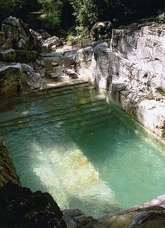 Backyard pool in limestone quarry