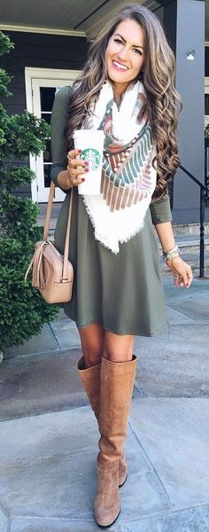 #fall #trending #street #outfits | Blanket Scarf + Swing Dress