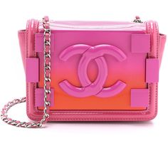 What Goes Around Comes Around Chanel Ombre Logo Bag ($6,000) ❤ liked on Polyvore featuring bags, handbags, shoulder bags, accessories, bolsas, pink, pink crossbody, vintage shoulder bag, quilted purse and quilted handbags