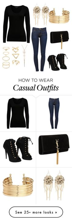 """""""Casual everyday outfit"""" by christinerose9 on Polyvore featuring French Connection, Frame Denim, Giuseppe Zanotti, Yves Saint Laurent, Bebe, H&M and Forever 21"""