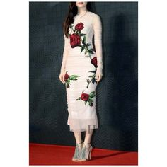 New Stylish Mesh Ruched Floral Appliqued Long Sleeve Midi Party Dress (230 SAR) ❤ liked on Polyvore featuring dresses, long dresses, floral midi dress, ruched midi dress, long sleeve dresses and blue dress