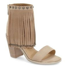 """Very Volatile 'Lux Fringe' Sandal, 3 1/4"""" heel ($70) ❤ liked on Polyvore featuring shoes, sandals, beige faux leather, studded sandals, boho sandals, beige sandals, fringe shoes and high heel shoes"""
