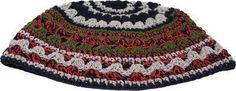 Frik Kippah 21 cm, Red- Green- Gray Stripes& Decoration