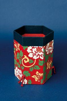 六角筆筒 牡丹 Pencil holder with washi paper