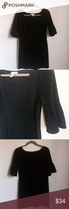 Loft Black Dress Black dress with 1/2 sleeves. Scoop neckline. Zipper on side. Size 4 petite. LOFT Dresses Midi