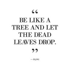 """""""Be like a tree and let the dead leaves drop."""""""