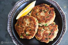 Tuna Patties Recipe // SimplyRecipes.com. Great on top of a salad. Make a bunch at once then enjoy for lunch during the week!