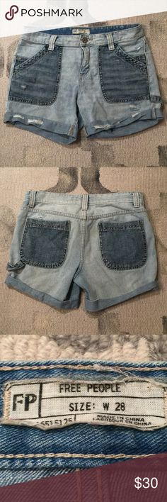 """Free People Carpenter Shorts Free People Carpenter Shorts - Distressed denim carpenter style shorts. Great condition, no stains or flaws. They are too big on me which is the only reason why I'm selling or I would keep them! Very cute on! Size 28. Measurements (taken lying flat) waist - 17"""", hips - 18"""", inseam - 5"""", from waist to bottom of shorts - 13"""". Free People Shorts Jean Shorts"""
