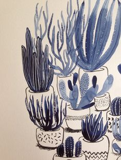 Coyote Atelier illustration love: Painted cactus illustrations by Shelby Ling. Each one of these sweet cactus plants is loosely-painted in a muted blue. Art And Illustration, Kaktus Illustration, Gravure Illustration, Botanical Illustration, Flora Und Fauna, Botanical Art, Art Inspo, Art Photography, Artsy