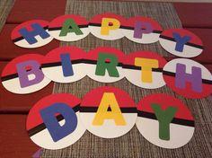 Pokemon birthday Pokemon Themed Party, Pokemon Birthday, 9th Birthday Parties, Birthday Diy, Birthday Banners, Birthday Ideas, 1st Birthdays, Farm Birthday, Happy Birthday