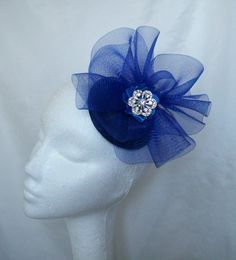 Royal Blue Patsy Cocktail Fascinator Mini Hat, available to custom order