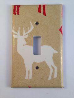 White Deer Light Switch Cover / Deer Nursery Decor / Cabin Decor/ Lodge Decor / Antler Decor / Man Cave Decor / Deer Decor / Rustic Decor