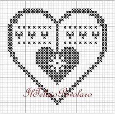 Xmas Cross Stitch, Cross Stitch Heart, Cross Stitching, Christmas Embroidery, Christmas Knitting, Christmas Cross, Crochet Chart, Filet Crochet, Crochet Motif