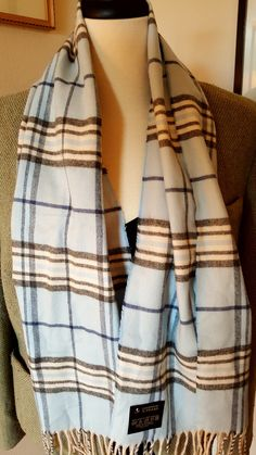 9f3a40274 V. FRAAS Germany Scarf CASHMINK 12 x 54 Inches White Gray Blue Fringed Super  Soft Acrylic 1990's / Outstanding