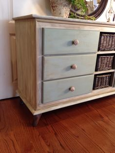 Wax painted technique on the beautiful upcycled dresser.