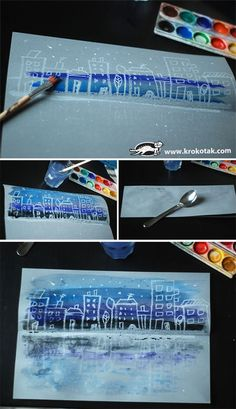 Draw on light blue paper with white crayon or oil pastel: paint over city design with a blue or black tempera wash (water down tempera paint a bit) or watercolor