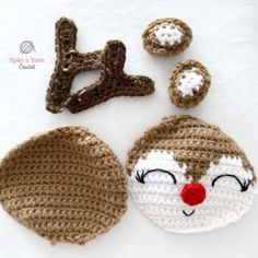 Crochet this sweet Rudolph Ornament with this quick and simple free crochet pattern, or make one to use as the perfect gift-topper for friends and family. Crochet Christmas Decorations, Crochet Decoration, Crochet Ornaments, Christmas Crochet Patterns, Holiday Crochet, Crochet Toys Patterns, Crochet Crafts, Crochet Yarn, Yarn Crafts