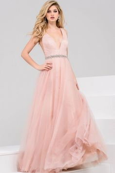 19016fa0257 Jovani - 45160 Bead Embellished V-neck Tulle Ball Gown  Long Prom Dress (